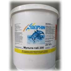 Химия для бассейнов Мульти-таб DELPHIN таблетки 200г на основе хлора,  10 кг